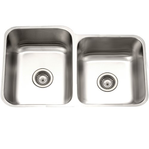 Houzer STE-2300SR Eston 31-1/4-by-20-Inch 60/40 Double Bowl Undermount Stainless Steel Kitchen Sink