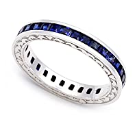 18k White Gold Channel set Blue Sapphire Eternity Band Ring