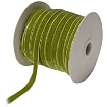 May Arts 3/8-Inch Wide Ribbon Parrot Green Velvet