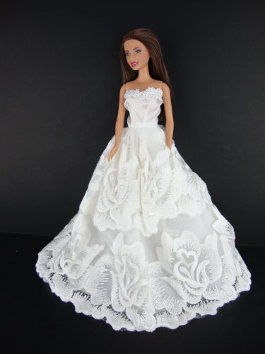 Super Cute All White Ball Gown with Large Flower Patterned Lace Made to Fit the Barbie Doll