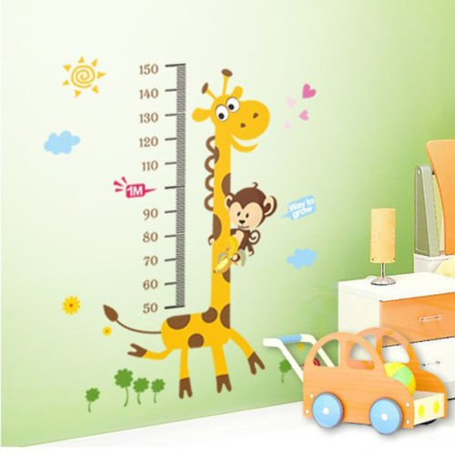 Giraffe Heart Cloud Removable Vinyl Wall Decal Stickers Kid Height Chart Measure front-1075120