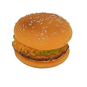 Simulated Round Vinyl Hamburger Dog Pet Chew Toy