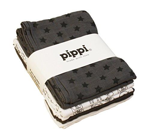 PIPPI 8er Pack Mullwindeln Spucktücher grau weiß