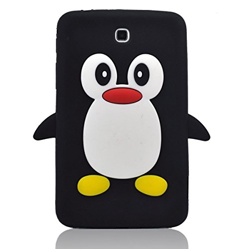 Tsmine Samsung Galaxy Tab 3 7.0-inch SM-T217 T217A T217S T217R T210R T2105 Kids Edition (2013 Model) Cartoon Case, Cute 3D Penguin Animal Soft Silicone Rubber Back Cover Case for Kids- Black