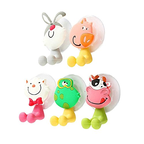 Kaimao Cute Animals Toothbrush Holder, Antibacterial Toothbrush Cover Holder with Suction Cup for Home and Travel, Set of 5