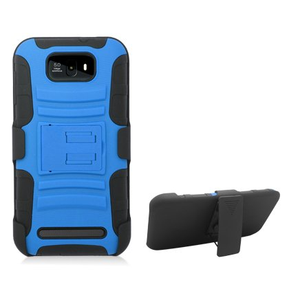 Aimo Wireless Xtreme Rugged Armor Case With Holster And Swivel Belt Clip Combination For Blu Studio 5.5 D610A - Retail Packaging - Blue/Black