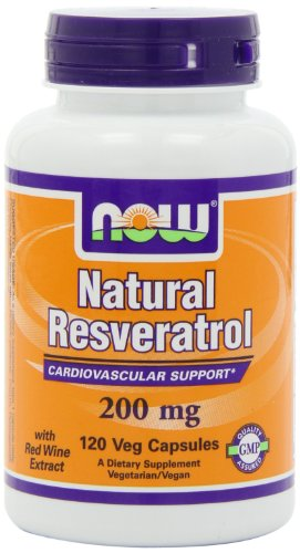 NOW Foods Natural Resveratrol, Mega Potency, 200mg, 120 Vcaps