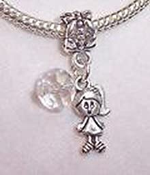 Pugs & Pandoras April Birthstone Little Girl Baby Crystal Dangle Bead Gift fits Charm Bracelets PP21052