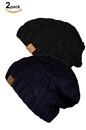 Basico Unisex Warm Chunky Soft Stretch Cable Knit Beanie Cap Hat (Black/Indi Blue 102-2pk) (Black Tooth Cap compare prices)