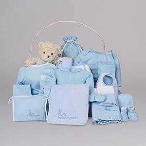 Canastilla regalo bebé Clásica Ensueño BebeDeParis-Azul- cesta regalo recién nacido de BebeDeParis - BebeHogar.com