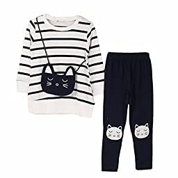 M RACLE Cute Little Girls Long Sleeve Top Pant Clothes Set(White Cat,Tag 130)