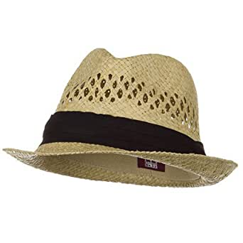 Vented Raffia Straw Fedora Hat-Natural with Black Band at