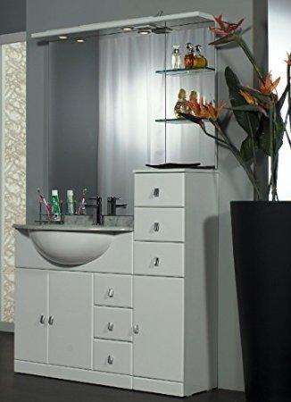 Mobile Arredo Bagno cm 100+30 con lavabo sottopiano bianco lucido con specchio Mobili 1