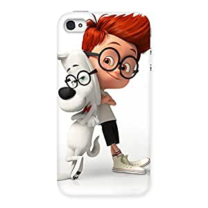 Cute Boy and Spec Dog Multicolor Back Case Cover for iPhone 4 4s