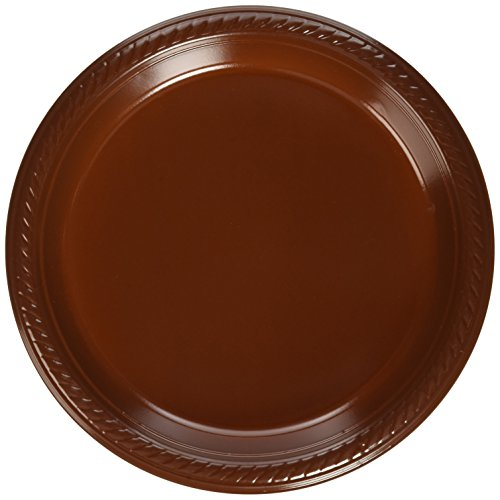 Amscan Big Party Pack 50 Count Plastic Dessert Plates, 7-Inch, Chocolate Brown