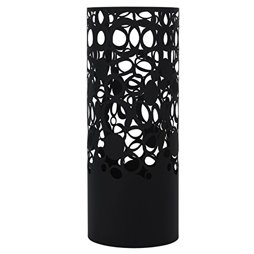 SONGMICS Umbrella Stand Rack Free Standing for Canes/Walking Sticks, with 2 Hooks, Round Metal Black ULUC42B