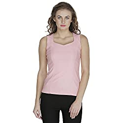 RAMPWALK Polyester Pink S Regular Fit V Neck Tops for women