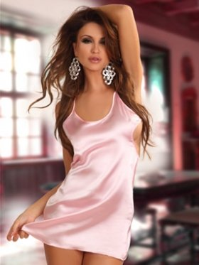 Beauty Night Antoinette Sexy Pink Satin Slip/Babydoll £36.99 - (L/XL UK 12-14)