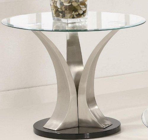 Buy Low Price End Table with Round Glass Top in Silver and Black Metal Base (VF_701257)