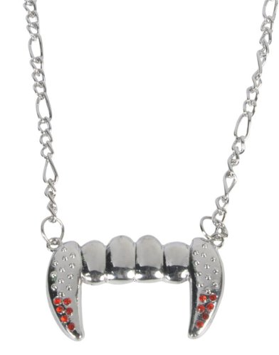 Lot 12 Silver Bling Vampire Fangs Costume Accessory Necklace