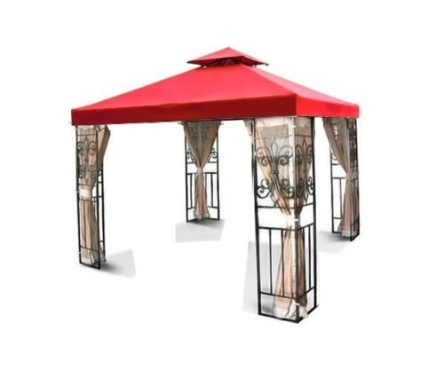 Flexzion 10'x10' Gazebo Replacement Canopy Top Cover (Red) - Dual Tier with Plain Edge Polyester UV30 Waterproof for Outdoor Garden Patio Pavilion Sun Shade (Patio Replacement Cover compare prices)
