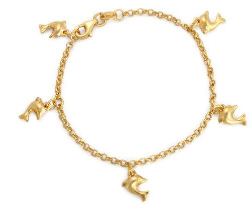 9ct Yellow Gold Dolphin Charm Belcher Bracelet 15cm/6