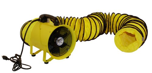 MaxxAir HVHF 08COMBO Heavy Duty 8-Inch Cylinder Fan with 20-foot Vinyl Hose, Yellow (Portable Exhaust Fan compare prices)
