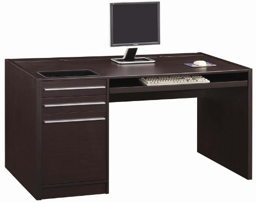 Buy Low Price Comfortable Home Office Computer Desk with Storage Drawers in Cappuccino Finish (B0057POO3M)