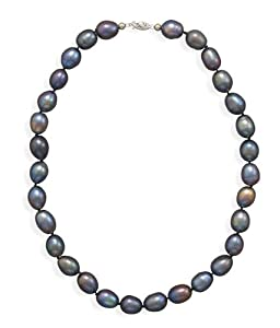 14k 16 Inch Cultured Freshwater Peacock Pearl Necklace With White Gold Filigree Clasp - JewelryWeb