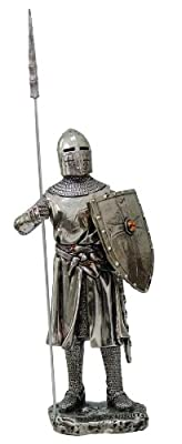 """Crusader Knight Statue Silver Finishing Cold Cast Resin Statue 7"""" (8872)"""