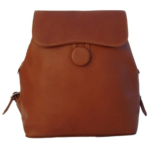 Piel Leather Flap-Over Button Backpack, Saddle, One Size Piel Leather B002CDD5PK