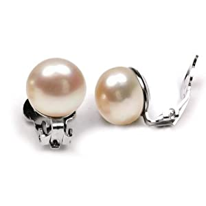 Bling Jewelry Pink Freshwater Pearl Sterling Silver Clip On Earrings