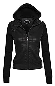 Women's Zip Up Faux Leather Motorcycl…