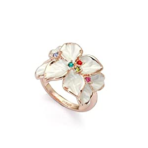 Magic Collection Rose Gold Finish White Enamel Flower Design with Multi-Color Crystal Cocktail Ring R26 (9)