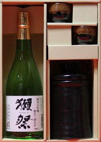 【ギフト】720mlお酒グラス(陶器・酒燗器付き)日本酒獺祭だっさい純米大吟醸 祝還暦