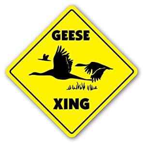 Amazon.com: GEESE CROSSING Sign xing gift novelty goose swan white ...