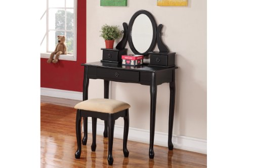 Black Finish Wooden Antique Looking Vanity With Bench Set