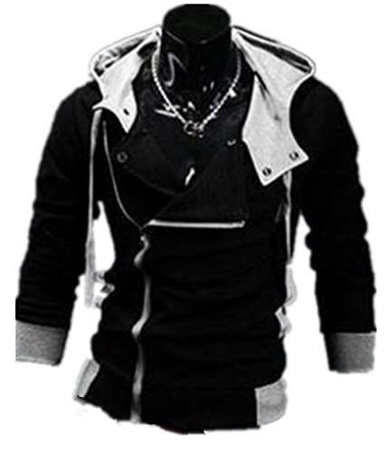 New Fashion Men'S Anime Cosplay Costume Hoodie Cardigan Coat Jackets (L, Black)