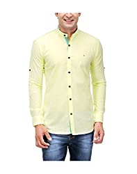 Nexq Men's Slim Fit Linen Casual Shirt (N51144_Yellow_XX-Large)