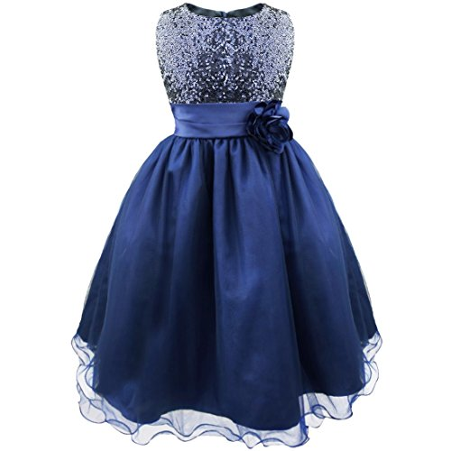 iEFiEL Girls Sequins Princess Formal Pageant Wedding Bridesmaid Flower Dress Navy Blue 8-9 Years