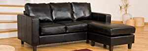 Brand New Black Reversible Corner Sofa in Bonded Leather       Customer reviews and more information