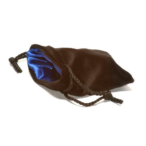 "3.75x4"" Black Velvet Dice Bag with Blue Satin Lining by Koplow Games"