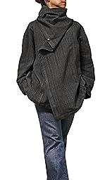 Sawan Men\'s ChomThong Hand Woven Cotton Loose Cloak Jacket Gray Brown
