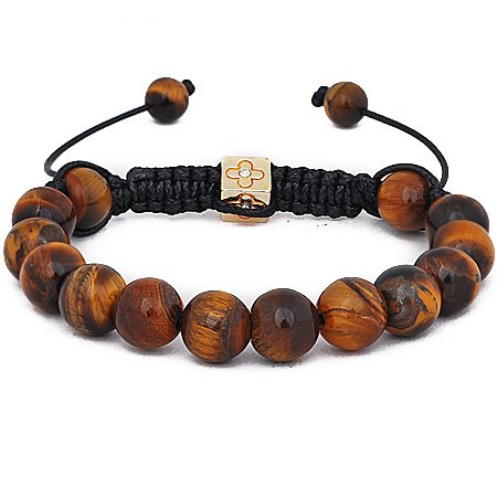 Shamballa Handmade Friendship bracelet with fully loaded Genuine Tigers Eye semi precious beads, adjustable unisex latest celebrity craze
