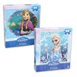 2 Pack - Frozen Princesses Anna & Elsa 48 Piece Puzzles (Set of 2 Puzzles)