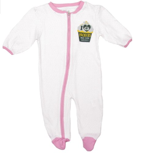 OuterStuff Green Bay Packers Infant/Baby Pink Cupcakes Sleeper (3-6 Months) at Amazon.com