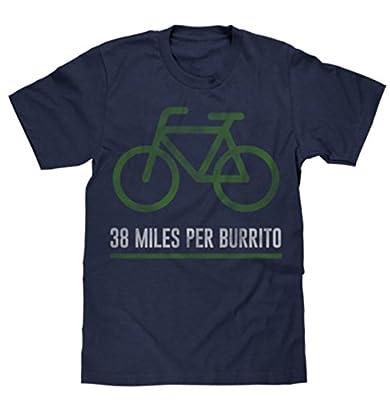 38 Miles Per Burrito Bike T-Shirt Vintage Look Soft Fabric