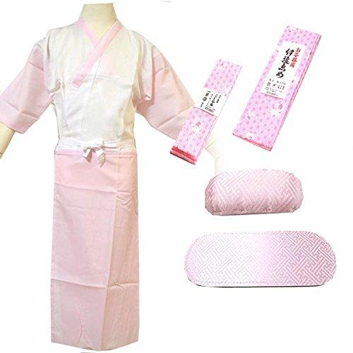七五三 7歳3歳女児着付小物5点セット 3サイズ2色/7歳 ピンク