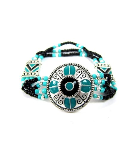 ETHNIC CONCEPT BEADED STRETCH BRACELET TURQUOISE