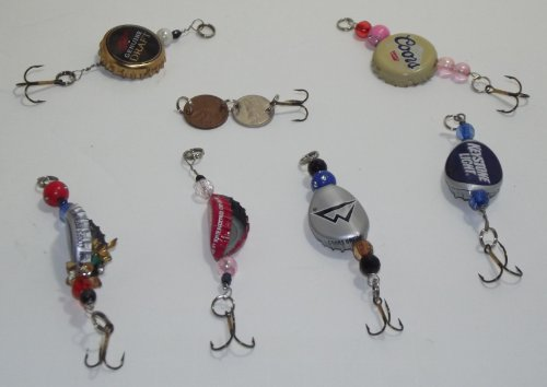 Custom made bottle cap and beads fishing lure for Bottle cap fishing lure